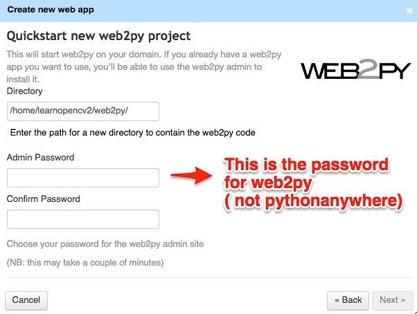 select password for web2py