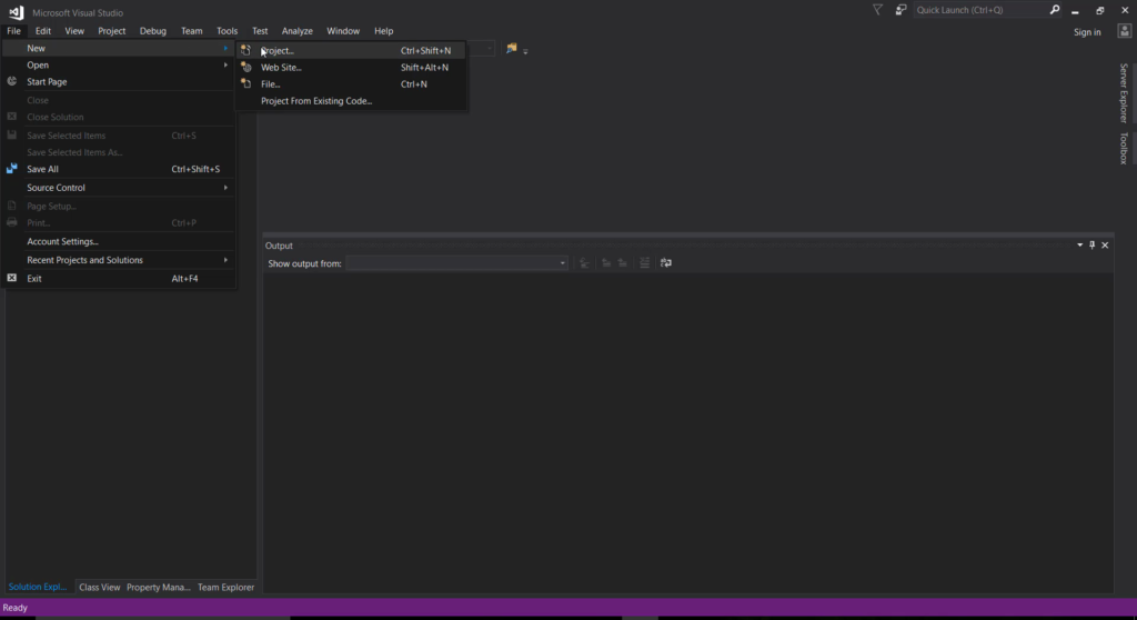 Create New Project in Visual Studio 17