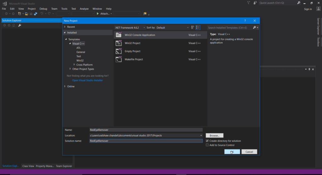 Speficy Project Name & Solution Name and template as Win32 Console Application