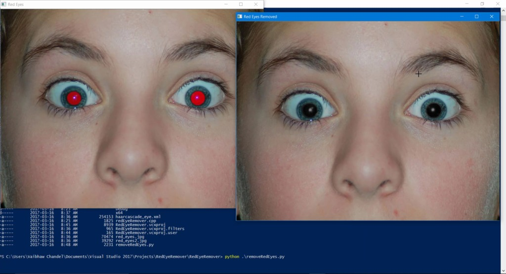 2 image windows will appear, one with red-eyes and other with black eyes