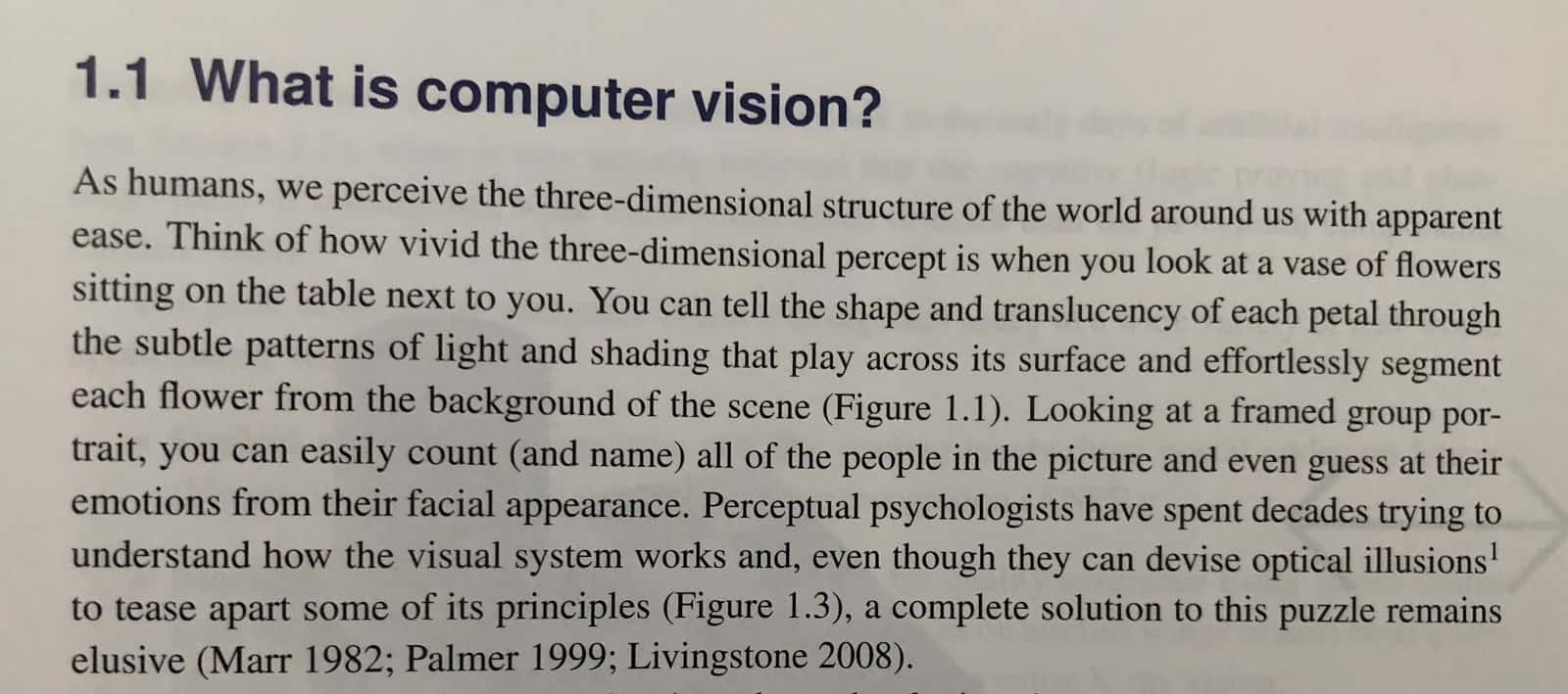 Scanned page of a book on Computer Vision
