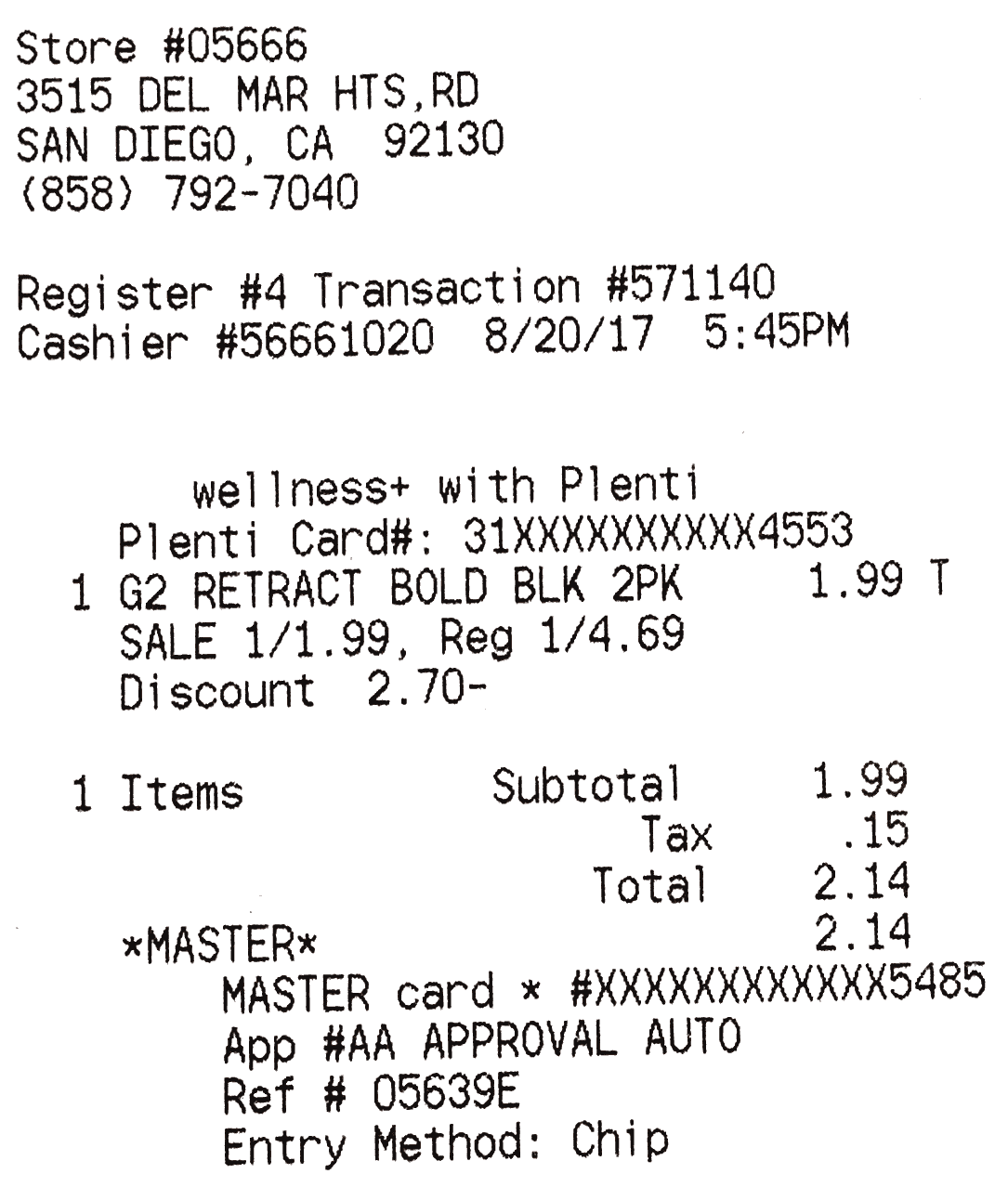 OCR Receipt Example