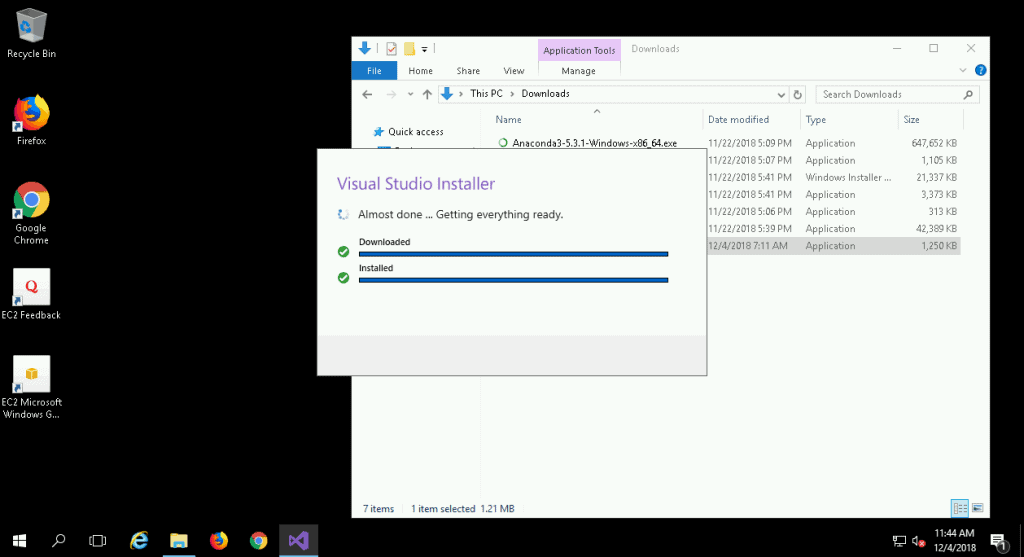 Visual Studio Installer Download Complete