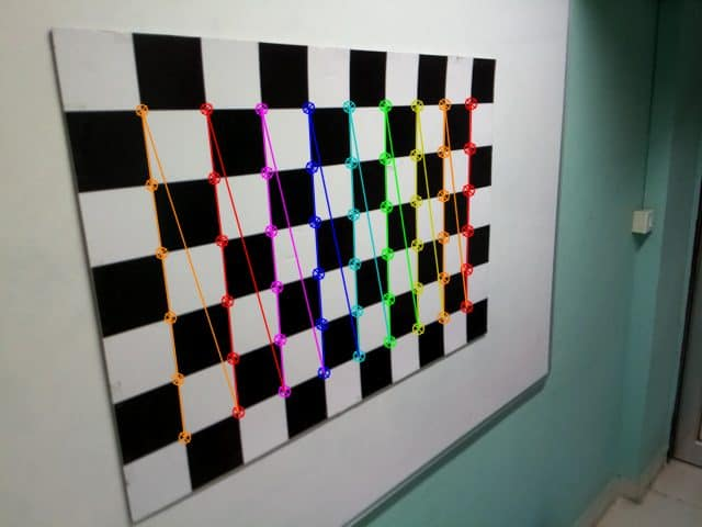 Result after drawing the detected checker board corners