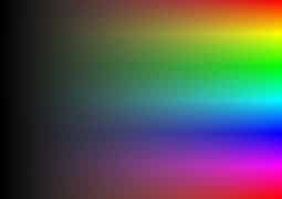 HSV values represented in RGB with Saturation and Value values increasing from left to right.